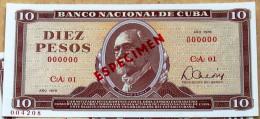 Billete De 1978, (10) DIEZ PESOS SPECIMEN, UNC. Primeros Años De La Revolución Cubana. - Cuba