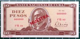 Billete De 1984, MUESTRA (SPECIMEN), De DIEZ PESOS, Crispy UNC. - Cuba