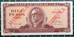 Billete MUESTRA De 1986, (SPECIMEN), De DIEZ PESOS, Crispy UNC. últimos Años De Ese Diseño. - Cuba