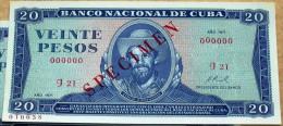 Billete De VEINTE (20) PESOS 1971, SPECIMEN, UNC. Primeros Años De La Revolución Cubana. - Cuba