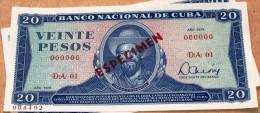 Billete De 1978 De VEINTE (20) PESOS SPECIMEN, UNC. Primeros Años De La Revolución Cubana. - Cuba