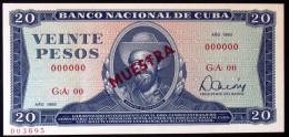 Billete MUESTRA, VEINTE PESOS (SPECIMEN) 1983, UNC. - Cuba