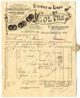 47  CASTELJALOUX  FABRIQUE DE CIERGES CIRES MIELS ETC    COL FILS  USINES DE LIRAC    FACTURE 1886 - Chemist's (drugstore) & Perfumery