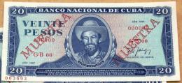 Billete MUESTRA De 1987, (SPECIMEN), De VEINTE PESOS, Crispy UNC. últimos Años De Ese Diseño. - Cuba