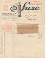 Facture 1931 Apéritif à La Gentiane Suze Distillerie Maisons Alfort Adressée à Léon Degré Café à Beaufort Jura - Alimentare