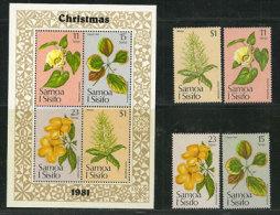 Fleurs Des îles Samoa. Série Complète 502/05 + BF Nr 26 Neufs **.  Côte 8.00 € - Samoa