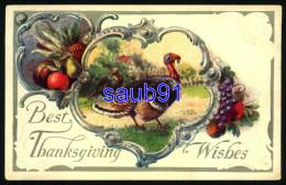 Best Thanksgiving Wishes -  Dinde - Turkey - Carte Gaufrée - Embossed Card -  - Illustrateur - Thanksgiving