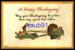 A Happy Thanksgiving -  Dinde Tirant Une Indienne Sur Un Char - Turkey - Carte Gaufrée - Embossed Card -  - Illustrateur - Thanksgiving