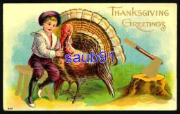 Thanksgiving  Greetings -  Dinde  - Turkey -  Enfant - Hache - - Carte Gaufrée - Embossed Card -  - Illustrateur - Thanksgiving
