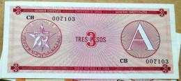 Tres (3) PESOS, Certificado De Divisa (Exchange Certificate) Letra A, Rojo 1985 UNC, CUBA - Cuba