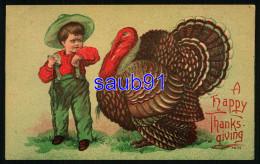 A  Happy  Thanksgiving  - Enfant Et Dinde - Turkey - Thanksgiving