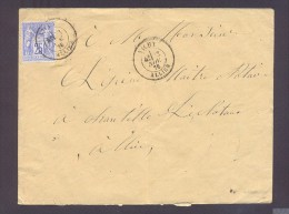 ALLIER 03 VICHY Env Tad Type 18 Sur 25 C Sage Du 13 Novembre 1876 TTB - Marcophilie (Lettres)