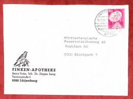 Illustrierter Umschlag, Finken-Apotheke, EF Erdefunkstelle, SoSt Luetjenburg 1976 (60199) - Storia Postale