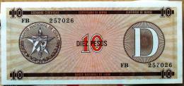 Certificado De Divisa Letra D, Carmelita (Exchange Certificate), DIEZ (10) PESOS, 1985 UNC, CUBA - Cuba