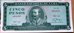 Billete De Curso Legal 1990, CINCO PESOS, UNC. Ultimo Año De Este Diseño, Revolución, CUBA. - Cuba