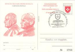 SMOM 2014 CARTOLINA POSTALE CANONIZZAZIONE GIOVANNI PAOLO II E GIOVANNI XXIII - Sovrano Militare Ordine Di Malta