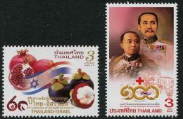 THAÏLANDE 2014 - Drapeaux, Fruits, Croix Rouge, 60e Ann Rélations Avec Israel, émission Conjointe - 2val Neufs // Mnh - Thailand