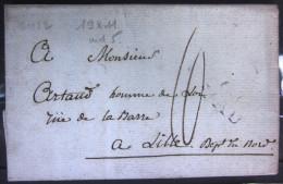 MARQUE LINEAIRE  64 PAU  --  BASSES PYRENEES  --  19 X 11  --  LAC  --  An 12 - Marcophilie (Lettres)