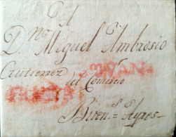O) 1815 CHILE, STAMPLESS MARK,SAN JUAN- AND FRANCA IN RED TO BUENOS AIRES ARGENTINA, RARE DESTINATION. XF - Chile