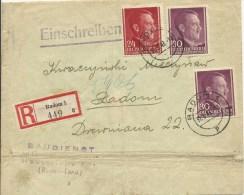 1943 Generalgouvernement  Einschreiben In Radom  Baudienst - Ocupación 1938 – 45