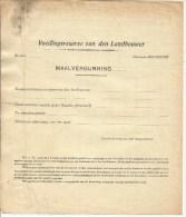 1941  Wereldoorlog II  Blanco Maalvergunning Gemeente Meerdonk Met 30 Rantsoenzegels - Historical Documents