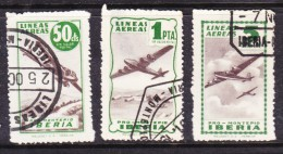 Spain: Mid 1940s PRO MONTEPIO IBERIA 50cts, 1Pta,5Pta, Green, Used - Poste Aérienne