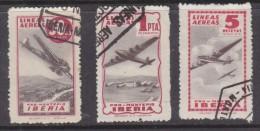 Spain: Mid 1940s PRO MONTEPIO IBERIA 50cts, 1Pta,5Pta,red, Used - Poste Aérienne