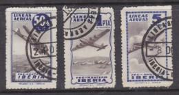 Spain: Mid 1940s PRO MONTEPIO IBERIA 50cts, 1Pta,5Pta,blue, Used - Poste Aérienne