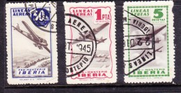 Spain: Mid 1940s PRO MONTEPIO IBERIA 50cts, 1Pta,5Pta,different Colours , Used - Poste Aérienne