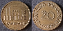 SARRE  20 Franken Ou Franc Sarrois 1954   SARRELAND Protectorat / Zone D'occupation Française En Allemagne   Port Offert - [ 8] Saarland