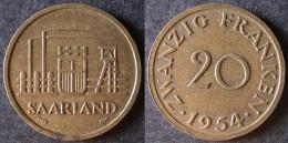SARRE  20 Franken Ou Franc Sarrois 1954   SARRELAND Protectorat / Zone D'occupation Française En Allemagne   Port Offert - Monedas