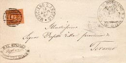 1883    LETTERA CON ANNULLO MOSCIANO S. ANGELO TERAMO - 1878-00 Umberto I