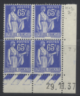 N° 365 Type Paix 65c Outremer Date 29-11-37 - Dated Corners