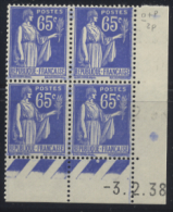N° 365 Type Paix 65c Outremer Date 11-02-38 - Dated Corners