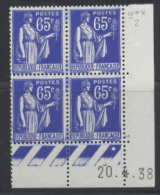 N° 365 Type Paix 65c Outremer Date 20-04-38 - Dated Corners