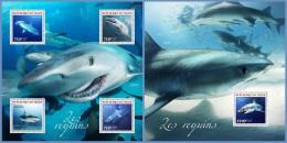 nig14308ab Niger 2014 Fish Sharks 2 s/s