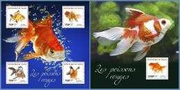 nig14309ab Niger 2014 Fish Goldfishes 2 s/s