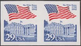 Etats-Unis 1992 Y&T 2015.  Paire Horizontale, Non Dentelé Accidentel. La Maison Blanche. Stars And Stripes - Stamps