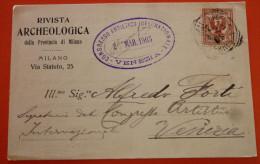 Regno 1905 - Cedola Commissione Libraria-Rivista Archeologica Della Provincia Di Milano - Stamped Stationery