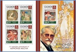 slm14304ab Solomon Is. 2014 Painting Alphonse Mucha 2 s/s