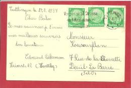 N°Y&T  443X3  TUTTLIGEN       Vers    FRANCE  Le      1937  2 SCANS - Briefe U. Dokumente