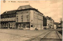 4 CPA  Wavre   Pl Du Sablon  Café De L'Union '08 Pl De La Station  Gare '20  Ecole Régimentaire - Impr Chalier N - Wavre