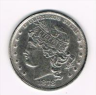 ¨UNITED STATES OF AMERICA  100 CENTS 1878  ( COPY ) - Elongated Coins