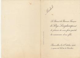 Petit Faire Part De Naissance Michel Baron De Selys Longchamps - Wedding