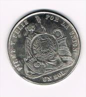 ¨  PERU  UN SOL  1871 ( COPY ) - Souvenirmunten (elongated Coins)