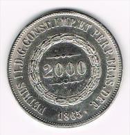 ¨  BRAZILIE  2000  REIS  1865 ( COPY ) - Elongated Coins