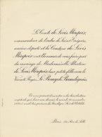 Comte Levis De Mirepoix Deputé Vicomte Le Boucq De Beaudignies - Wedding