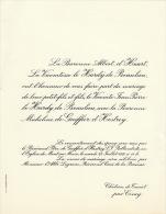 Vicomte Le Hardy De Beaulieu Baronne De Gaiffier D'hestroy Chateau De Taviet Ciney - Wedding