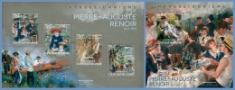 ca14101ab Central African 2014 Painting Impressionism Pierre-Auguste Renoir 2 s/s