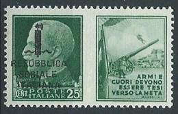1944 RSI PROPAGANDA DI GUERRA 25 CENT MNH ** - ED829 - Propaganda Di Guerra